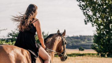 fille cheveux dans le vent cheval